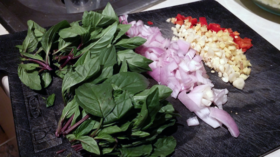 aromatics and basil for gai pad krapow
