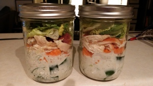 chicken ranch mason jar salad